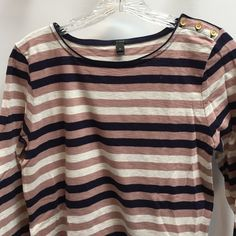 """J Crew Top With Gold Shoulder Buttons This top is in perfect condition. Extra button included. 26 down 17"""" across  sleeves are 22"""" J. Crew Tops"""