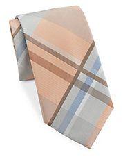 Plaid Silk-Blend Tie Light Peach, Light Orange, Color Palate, Tie And Pocket Square, Tie Colors, Color Show, Our Wedding, Plaid, Silk