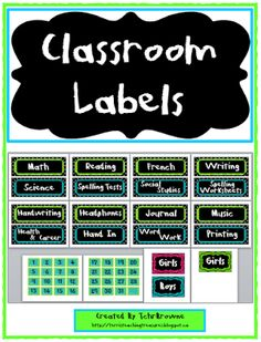 Free Classroom Labels and Signs  I am on day 3 of summer holidays but I know some of you are in the middle of your break time and are already thinking of back to school time. To help with organizing your classroom and daily routines here are some lime green and turquoise labels for you!  Included are:16 subject labels that can be used for buckets tubs or as signs for the daily agenda.  number cards for the numbers 1-31 along with a blank one that can be used to number hooks or as part of…