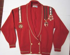 Lucia Cardigan Sweater Red Acrylic Shawl Collar Embroidery Appliques Size M #Lucia #Cardigan