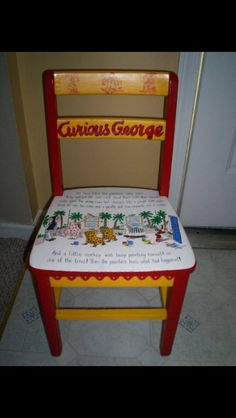 This is awesome Curious George Bedroom, Curious George Crafts, Curious George Birthday, Theme Bedrooms, Bedroom Ideas, Toddler Themes, Children Reading, Crafts For Kids, Arts And Crafts