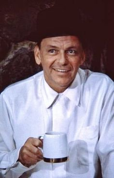 Frank Sinatra enjoying a coffee break.