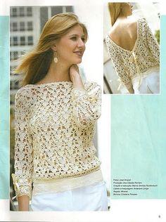 Receitas de Trico e Croche: Blusa em crochê com decote V nas costas