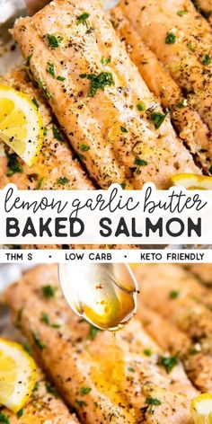 Put a quick and healthy dinner on the table with this recipe for Lemon Garlic Butter Salmon Baked in Foil. Super easy to make and absolutely delicious! This recipe is Trim Healthy Mama friendly (THM S Seared Salmon Recipes, Easy Salmon Recipes, Seafood Recipes, Gluten Free Recipes Salmon, Simple Salmon Recipe, Best Salmon Recipe, Healthy Baking, Healthy Recipes, Thm Recipes