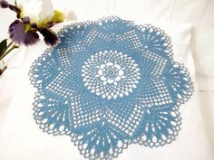 Blue Crochet Lace Doily Modern Table Topper  by DoliaGalinaCrochet