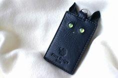 受注生産 グリーンeyes猫目カードケース(1枚用)ダークブルー