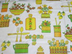 Vintage 1960s1970s Kitchen Curtains 6 Panels Kitschy by linbot1, $30.00