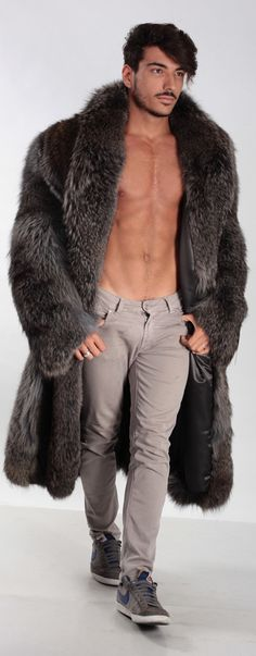 Great coat but dude, put a shirt on man. .
