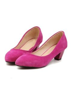 Hot Pink Faux Suede Poined Toe Heeled Shoes