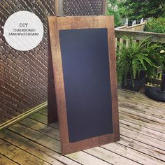 chalkboard sandwich board   Get two boards from Home Depot. They were pre-cut to this size so no waiting in line at the cutting tool. Get a pack of hinges. Screw the two boards together. Aubrey used glue to reinforce the hinges as it was going to be transported to the resort. But you could skip this step.