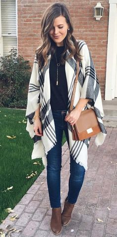 #winter #outfits white and black plaid blazer