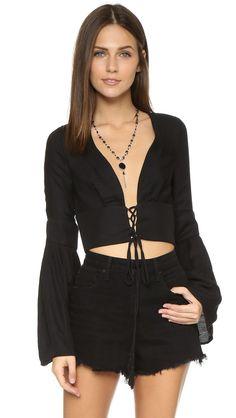 Bec & Bridge Panama Tie Blouse - Black