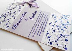 modelo 27: convite de casamento floral em tons de roxo  - Galeria de Convites
