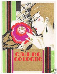 PERFUME LABEL EAU DE COLOGNE ART DECO WITHOUT IMPRINT