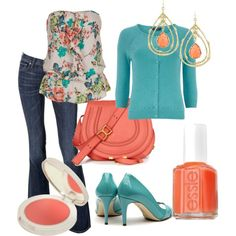 Teal and Coral-- Have jeans. Need shirt, cardigan, shoes, and accessories.