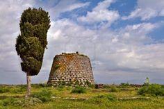 Nuraghe Tower Ruins And Pine Tree Sardinia Sardegna Italy Archeological..