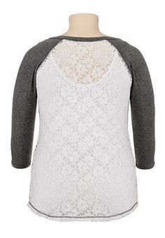 3/4 sleeve lace plus size baseball tee - maurices.com
