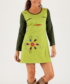 This Lime & Green Floral Slash-Accent Scoop Neck Dress is perfect! #zulilyfinds
