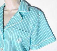 Ralph Lauren Pajama Set Teal Blue White Stripe Top Shorts New Large Medium   eBay