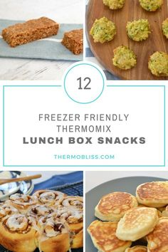 This collection of freezer friendly Thermomix Lunch Box Snacks includes all of our favourites scroll, biscuits and slice recipes! Snacks For Work, Lunch Snacks, Easy Snacks, Healthy Snacks, Lunch Box Recipes, Low Carb Dinner Recipes, Snack Recipes, Lunchbox Ideas, Freezer Recipes