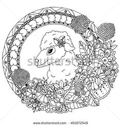 https://thumb7.shutterstock.com/display_pic_with_logo/3232244/461872549/stock-vector-vector-illustration-zentangl-sheep-in-the-round-frame-with-flowers-and-floral-doodle-drawing-461872549.jpg