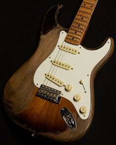 Makes me want to strip my Strat down. You can't beat a vintage Fender Stratocaster in this relic style. Fender Stratocaster, Banjos, Vintage Guitars, Electric Guitars, Acoustic Guitar, Metallica, Music Instruments, Play, Chocolate