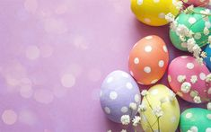 Download wallpapers Easter, pink background, postcard, easter eggs, decoration, colored easter eggs