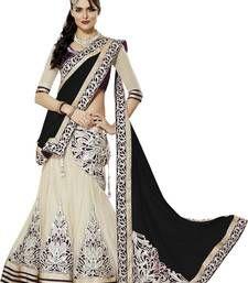 Buy Black embroidered georgette unstitched lehenga-choli ghagra-choli online