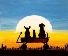 Dogs in a wagon looking at setting sun beginner painting idea. PaintNite.com
