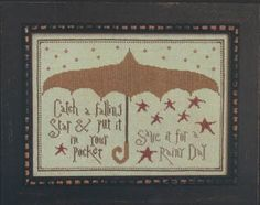 La D Da Falling Star, A - Cross Stitch Pattern. Catch a falling star and put it in your pocket, Save it for a rainy day. Model stitched on 35 count Tin Roof Lin