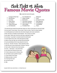 Printable Chick Flicks vs. Action: Famous Movie Quotes - Funsational.com
