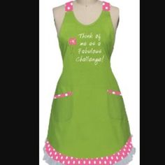 """FIRM PRICE⬇️NEW Girly """"Fabulous Challenge"""" Apron Brand new, never worn like green/pink polka dot apron; """"Think of me as a fabulous challenge!"""" embroidered on the front with flower design; Necktie and waist tie are matching pink with polka dots with two pockets on the front of the skirt; tulle ruffle hem. Perfect hostess/housewarming gift or for your inner-chef!  Accessories"""