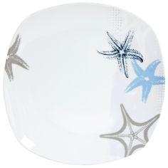 Assiette plate porcelaine carrée étoile de mer LAGUNE Quid