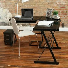 A three-piece desk that tucks efficiently into any small corner.