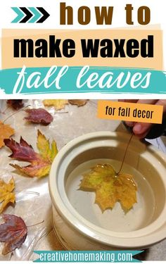 How to make waxed fall leaves for fall and autumn decor. Easy waxed fall leaves craft! #creativehomemaking Easy Diy Crafts, Diy Arts And Crafts, Diy Craft Projects, Fall Crafts, Crafts To Make, Thanksgiving Crafts, Craft Ideas, Thanksgiving Decorations, Creative Crafts