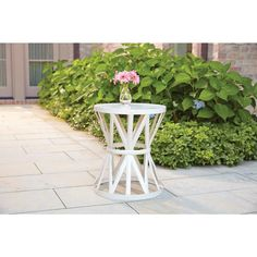 Hampton Bay 18.9 in. Round Metal Garden Stool in Chalk-HD16023A - The Home Depot