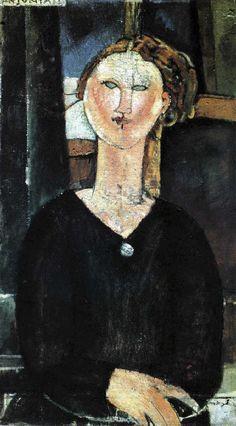 ANTONIA L'emploi de deux couleurs seulement, sombres et assourdie – le brun des cheveux et du fond, le noir de la robe – renforce la conception sculpturale de ce portrait encore d'inspiration cubiste. Le nez et l'oreille sont vus de profil sur le visage de face et le dessin est simplifié à l'extrême