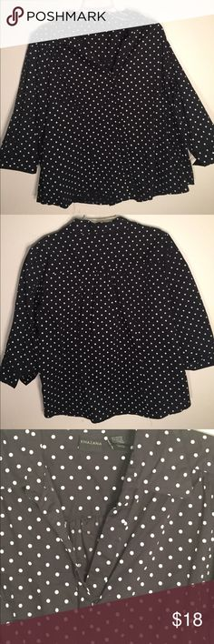 *50% OFF ALL BUNDLES* Black blouse white polkadots Black button down blouse with white polkadots. Three-quarter sleeve 🦋 Express Tops Button Down Shirts