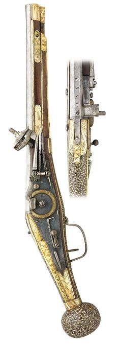 A 28 BORE SAXON WHEEL-LOCK HOLSTER PISTOL, DATED 1587, PROBABLY DRESDEN