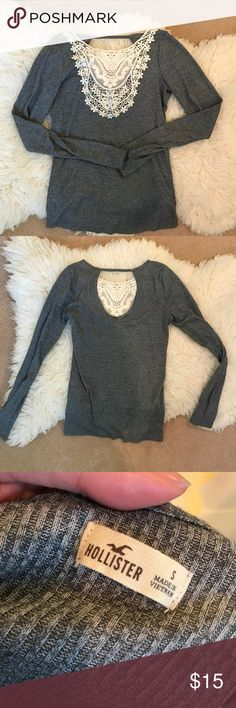 c5ae00c51560ba Hollister Grey Long Sleeve Top Size Small Crew neckline with crochet detail  in the front.