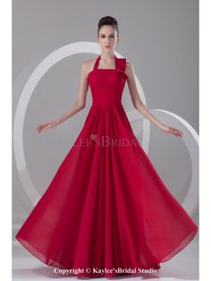 Chiffon Halter Neckline Floor Length Column Prom Dress