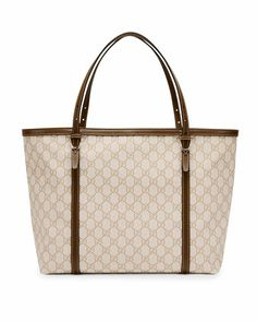 Gucci Nice GG Supreme Canvas Tote Bag, White/Tan by Gucci at Neiman Marcus.