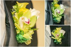 Boutonniere: orchid, calla lily, ranunculus and rose. Yellow and green wedding theme. Michelia T.A.