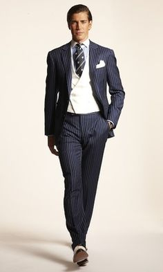 Double-breasted morning waistcoat with a navy pinstripe suit? Shouldn't work. Does. RL Spring 13