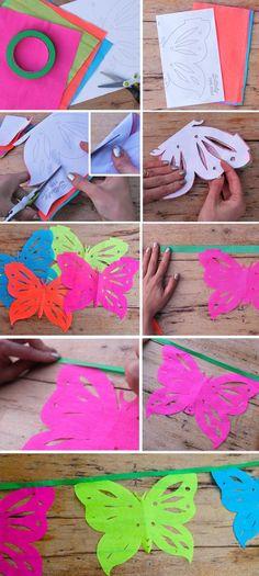 instrucciones y tutorial sobre cómo hacer guirnaldas papel picado mariposa