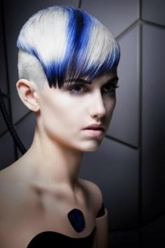 sexy severe - white and blue hair. Loooooooooooooooooooove this! Undercut Hairstyles Women, Unique Hairstyles, Girl Hairstyles, Amazing Hairstyles, Short Hair Cuts, Short Hair Styles, Pelo Multicolor, Hair Shows, Creative Hairstyles
