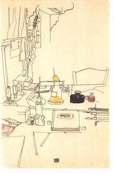 Egon Shiele interior drawing