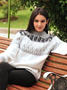 Gamboa Dick Alpaka Pullover - grau und weiß
