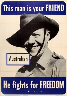 This Man is Your Friend Australian WWII, 1942 - original vintage World War Two propaganda poster listed on AntikBar.co.uk