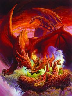 Dragons always care for their young. This is due to the fact that, like Elves, Dragons only have hatchlings every half-century or so. (dependent on particular species of dragon and whether the local ecosystem can handle it)